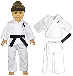 Doll Clothes - 3 Pieces Karate Set Fits American Girl Dolls, Madame Alexander and other 18 inches Dolls - Blouse, Pants and Black Belt