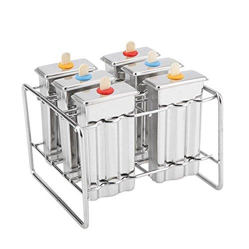 MATERIAL DE ALTA CALIDAD: Hecho de BPA 304 molde de paleta de acero inoxidable de grado alimenticio con etiqueta de registro, durable para uso prolongado, saludable y seguro. DISEÑO EXTRAÍBLE DE POPSICLE: la base del soporte del molde de acero inoxid...