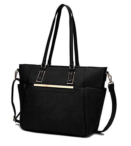 Mia K Collection Crossbody Tote Bags for Women - PU Leather Handbag Purse - Shoulder Strap, Satchel Pocketbook Black