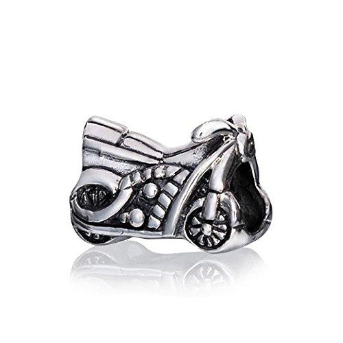 MATERIA 925 sterling zilveren bead motorfiets - antiek zilver hanger voor kralen armband/ketting #1110