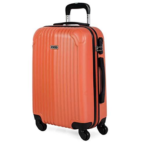 ITACA - Maleta Cabina Avion Pequeña con Ruedas Hombre Mujer. Maleta de Viaje Rígida 4 Ruedas 55 cm ABS. Equipaje de Mano con candado de combinación. Ligera. Low Cost. T71550, Color Mandarina