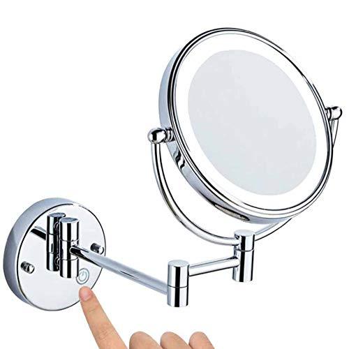 ZSHYP Make-up spiegel met licht, dubbelzijdig make-up spiegel compacte spiegel opvouwbare ronde voor badkamer, cosmeticastudio, spa en hotel