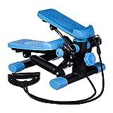 Relaxdays Stepper, Resistenza Regolabile, con Corde Elastiche, Conta Passi e Tachimetro, Fitness 170 x 31 x 33, Nero/Blu