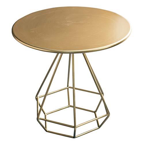 CSQ Ronda de Metal Mesita, Balcón Sala de Estar Dormitorio Mesita de luz Cafe Bar Tabla multifunción Snack-Rack, Oro (Color : Gold, Size : 50 * 50 * 50CM)