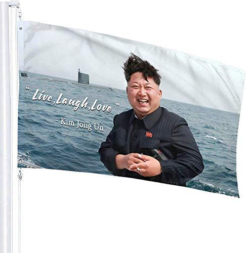 MBEN 3x5 Ft Laugh,Mural Wall Art Live, Love Flag Kim Jong Un Banner College Dorm Decor Indoor Bedroom Sign Heavy Wind With Brass Grommets