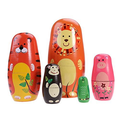 STOBOK 5 Stücke Holz Matroschka Tiere Puppe Tiger Bär Schwein AFFE Eule Figur Matrjoschka Dekofigur Russische Matryoshka Weihnachten Tischdeko für Kinder Neujahr Geschenke Mitgebsel Spielzeug