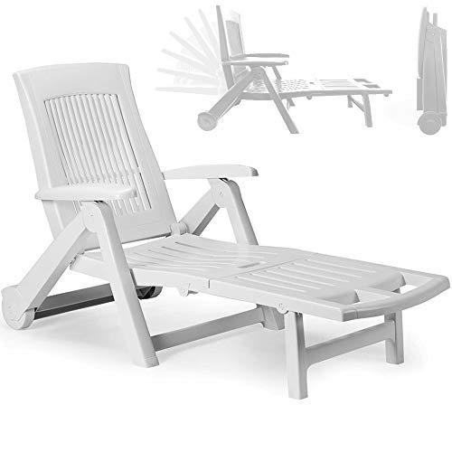 Multistore 2002 - Tumbona plegable con ruedas para tomar el sol y relajarse en el jardín, asiento con respaldo de 5 posiciones, mueble de balcón y terraza, plástico, color blanco