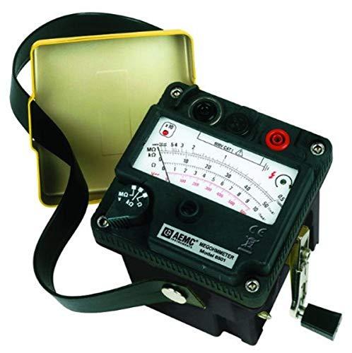 AEMC 6501 Hand-Cranked Analog Megohmmeter Insulation Tester, 500V Test Voltage, 200 Megohms Insulation Resistance, 500 Kilohms Low-Resistance