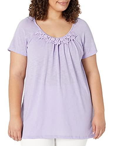 Just My Size Women's Plus-Size Slub Crochet Trim Tunic, Salty Purple, 4X