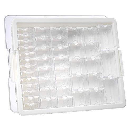 Elizabeth Ward Bead Storage Solutions: 45-Piece Assorted Storage Tray – Bead Organizer with 42 Containers of Various Sizes, a Tray and Lid for Beads and More