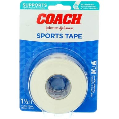 Johnson & Johnson Coach Sports Tape, Breathable Cloth Tape to Support and Protect Joints, for Fingers, Wrists, and Ankles, 1.5 inches By 10 yards