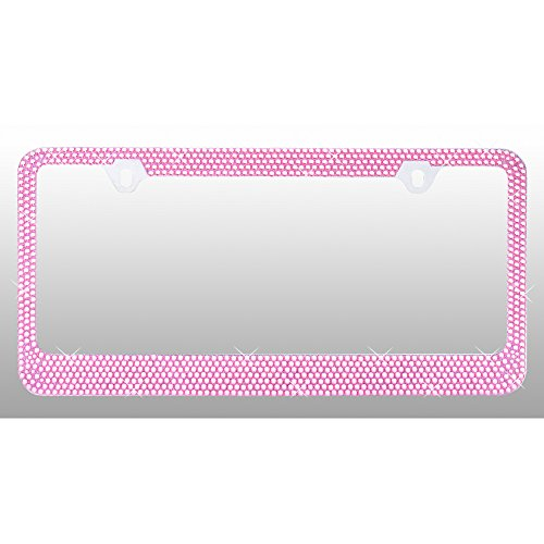 License Plate Frame - Metal - 7 Row - Light Pink Crystals