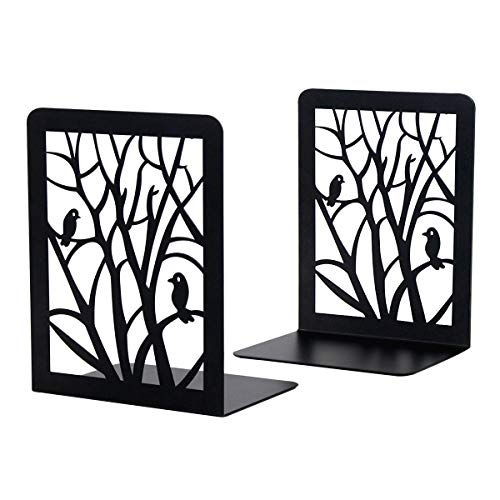 Dr.HeiZ Book Ends, Book Ends for Shelves, Decorative Bookends for Heavy Books, Non-Skip Metal Bookends for School, Home or Office (Black, 1 Pair)