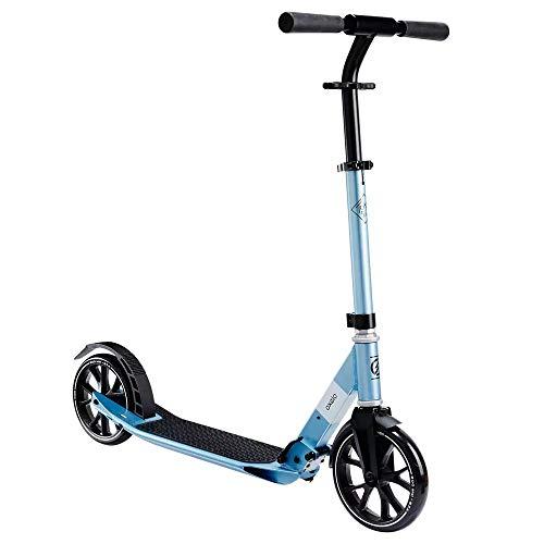 Oxelo Patinete de ciudad Town 5 XL para adultos, azul, capacidad de carga de 100 kg, ajustable, con soporte, para ciudad, tiempo libre, deportes al aire libre, 5,1 kg