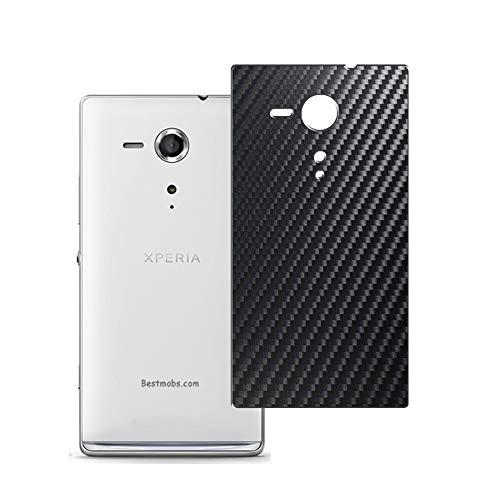 Vaxson 2 Stück Rückseite Schutzfolie, kompatibel mit Sony Xperia SP C5303, Backcover Skin - Carbon Schwarz [nicht Panzerglas/nicht Front Displayschutzfolie]