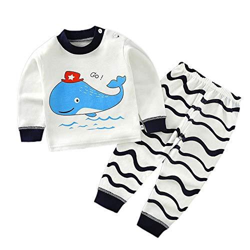 CVBN Conjunto de Pijamas para niños Pijamas para niños con patrón de Dibujos Animados de algodón Suave, Ballena, 90cm