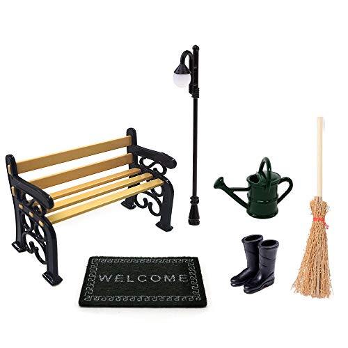 Juego de Accesorios Jardín en Miniatura, 6 Piezas Accesorios de Jardinería para Casas Muñecas, Banco + Farola + Botas de Lluvia + Alfombra + Escoba + Regadera Para Herramientas de Jardín de Muñecas
