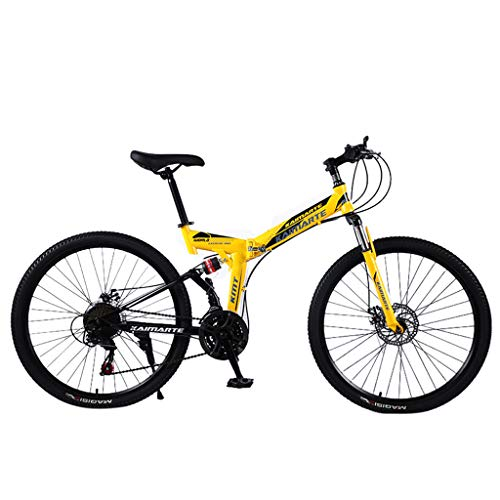 Writtia 24 Zoll Mountainbike Fahrrad MIT VOLLFEDERUNG & Beleuchtung Unisex Falt-Fahrrad,Klapprad, Klappfahrrad, leicht und robust, Gangschaltung Freilauf Kettenschaltung