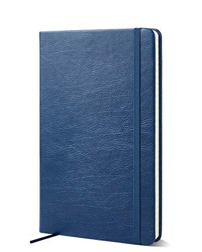 Cuaderno rayado: diario de bolsillo prémium por Notts Journal   Agenda de tapa dura; 100 g/m² FSC; sin ácido; papel color crema; cuaderno profesional rayado (Azul marino)