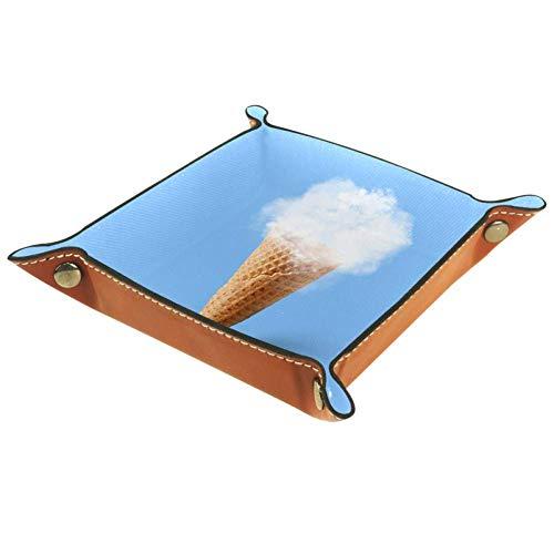ASDQWE - Bandeja de piel para guardar dados con diseño de nube de helado, color azul y blanco, Helado Nube Azul Blanco, 20.5x20.5cm