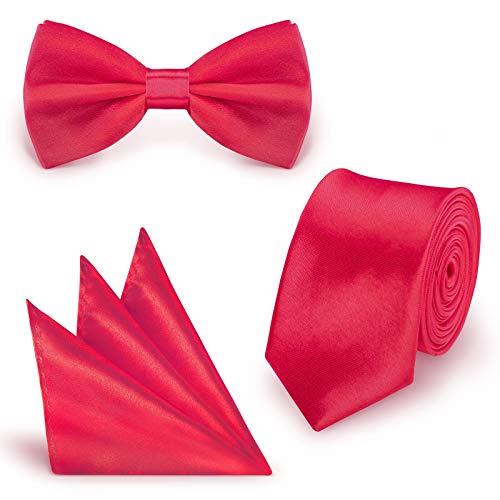 StickandShine - Set cravatta con papillon e fazzoletto da taschino, tinta unita, in poliestere
