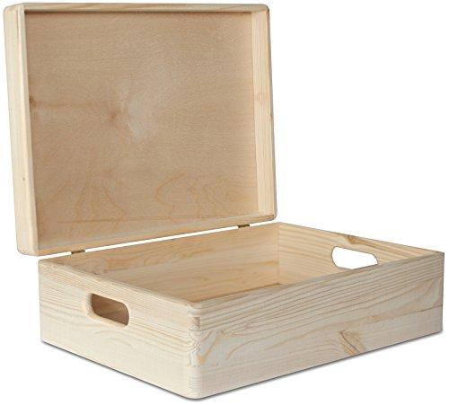 Creative Deco XL Große Holz-Kiste Holzbox mit Deckel Erinnerungsbox | 40 x 30 x 13 cm | mit Griffen | Weinkiste Aufbewahrungsbox Spielzeugkiste Kasten | Ideal für Wertsachen, Spielzeuge und Werkzeuge