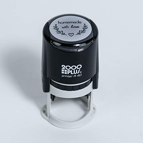 """Homemade with Love Self-Inking R40 Round Stamp with Heart and Olive Branch, 1 1/2"""" Diameter, Black Ink"""