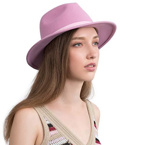 Jack&Arrow Chapeau Fedora pour Homme Femme Trilby Chapeaux Panama en Feutre de Laine Classique à Large Bord avec Plume Vintage