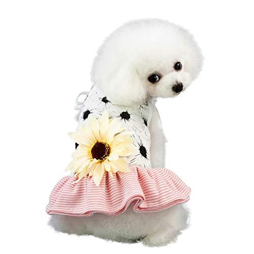 N/A Perro Mascota Ropa De Primavera Y Verano Primavera-Verano Vestido para Mascotas Falda con Tirantes Fiesta Tutu Vestido De Baile Girasol Grande En La Espalda Accesorios para Mascotas