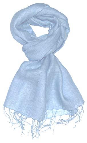Lorenzo Cana Herrenschal Schal Tuch Leinenschal 65 x 175 cm 100% Leinen uni einfarbig Hellblau Babyblau Himmelblau 9306511