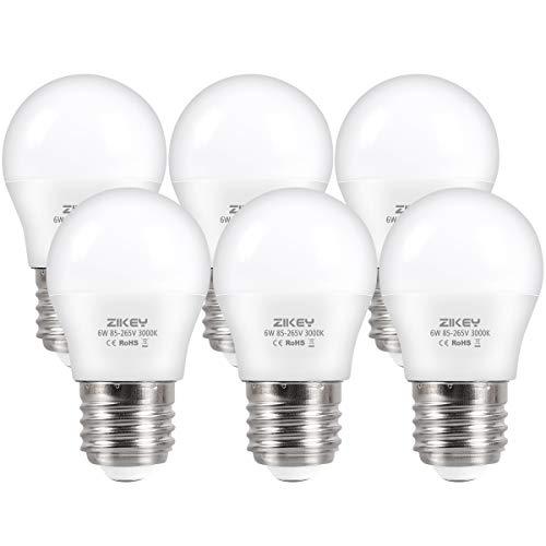 ZIKEY Bombilla LED E27, 6W (equivalente a 50W), G45 Mini Globo bombilla Blanco Cálido 3000K 600lm No regulable - 6 unidades