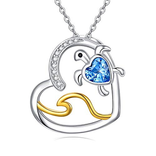 CHENGHONG Turtle Jewellery Ocean Necklace, Sterling Silver Opal Turtle Pendant Necklaces Summer Sea Wave Theme Jewellery Zirconia Birthday Gifts for Women Girls Best Friends