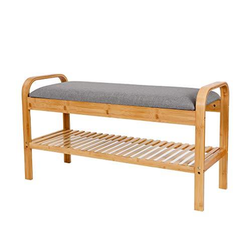 Lumaland Schuhregal aus Bambus mit Sitzbank + 1 Ebene - 90x50x30 cm Grau