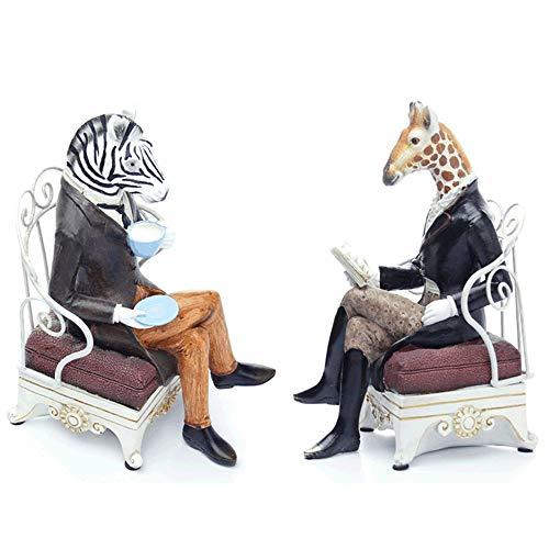 LaLa POP Kreative Giraffe Zebra Nachmittagstee Dekoration Cartoon Harz Handwerk Set Home Wohnzimmer Studie Dekoration (Paar)