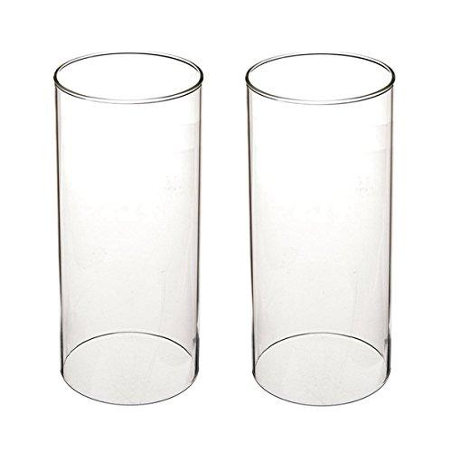 Tensquare Glaszylinder ohne Boden für Kerzen | Hurrikan Kerzenhalter Glas | Offenes Glasrohr Groß | Aus Borosilikat-Glas | Durchmesser 7,5 cm/8,5 cm/9,5 cm (Ø 8,5 cm | Höhe 20,3 cm)