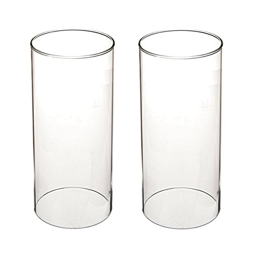 """SG Clear Candle Holder Glass Cylinder Vase Glass Chimney Lamp Shade Candle Holder Open End Open 2.8"""" Height 8"""" (2 Packs)"""