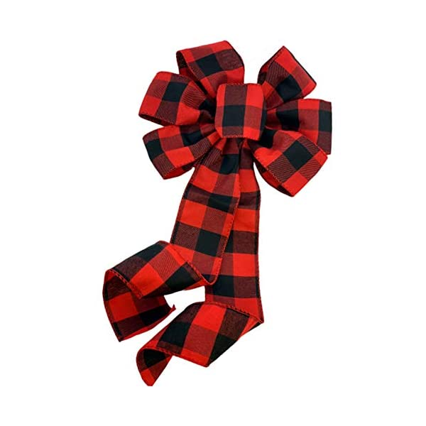 GiftWrap Etc. Buffalo Plaid Christmas Wreath Bow – 10″ Wide, 18″ Long Pre-Tied Bow, Red Black Checkers, Fall Decor, Door Decoration, Swag, Wreath, Garland, Boxing Day, Winter, Valentine's Day