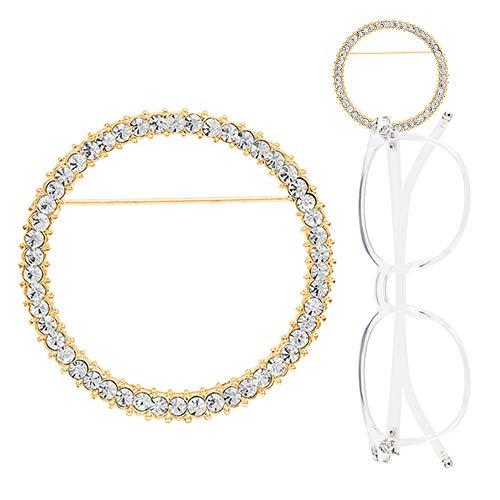 TERAISE Occhiali Spilla Holder Classic Fashion Metal Ring Occhiali da sole Collana Design semplice Gioielli spilla(Gold)