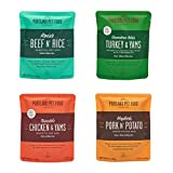 Portland Pet Food Company – Natural Wet Dog Food Pouches – Human-Grade, Gluten-Free Mixer or Dog Food Topper, Made in The USA Dog Food (Mixed Flavor 4-Pack)
