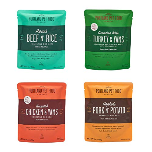 CRAFTED BY HUMANS LOVED BY DOGS Portland Pet Food Company All Natural, Homestyle Dog Meal, Fully Cooked Microwavable Meal Pouches, USA Made, 4 Pack (4 x 9oz) (Mixed Pack, 4 Pack)