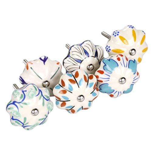 YeVhear - Set di 6 bottoni in stile vintage shabby colorati, dipinti a mano, in ceramica, a forma di zucca, armadio, cassetto, maniglie per porte, maniglie a bottone, colori misti # 1