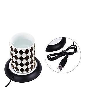 Taza de café eléctrica calentador de taza de leche de té calentador de almohadilla placa calefactora con puerto USB Mini alfombrillas de metal de madera(Negro)