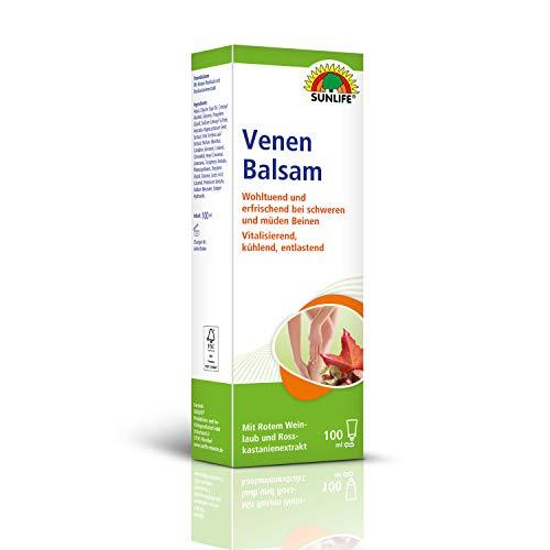 SUNLIFE Venen Balsam: Wohltuende Creme für müde und schwere Beine, rotes Weinlaub, Extrakt der Rosskastanie, 100ml