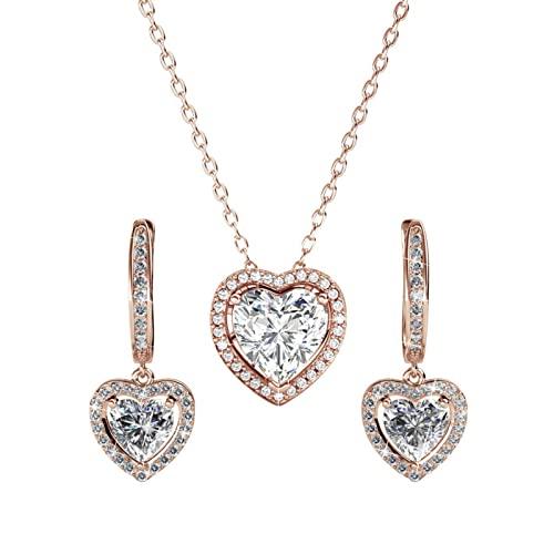 Collar con colgante de corazón de St.Claire | Circonita cúbica chapada en oro blanco de 18 quilates | Collar de oro rosa para mujer