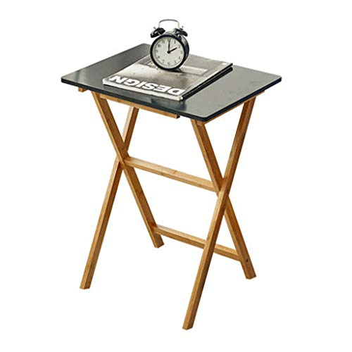 LF- Table Pliante, Facile à Transporter Balcon Jardin Bamboo Loisirs Table Multifonctions Canapé Étude côté Patio Table carrée Bar Table 50 * 50 * 50cm Élégant (Color : Black)