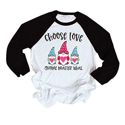 Las mujeres de la moda del día de San Valentín gnomos de impresión bloque de color casual blusa camiseta, raglán bloque de color impresión suéter suéter tops otoño invierno