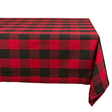 DII Cotton Buffalo Check Plaid Rectangle Tablecloth for Family Dinners or Gatherings, Indoor or Outdoor Parties, Everyday Use (60x120, Seats 10-12 People), Red & Black