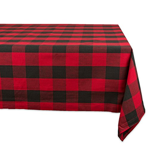 "DII Cotton Buffalo Check Plaid Rectangle Tablecloth for Family Dinners or Gatherings, Indoor or Outdoor Parties, & Everyday Use (60x84"", Seats 6-8 People), Red & Black"