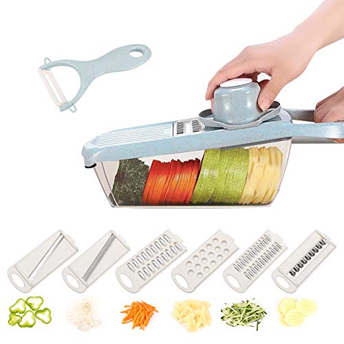 Adjustable Mandoline Slicer with Spiralizer Vegetable Slicer Veggie Slicer Mandoline Food Slicer with Julienne Grater Vegetable Modoline Cutter Vegetable Cutter Zoodle Maker Vegetable Spiralizer