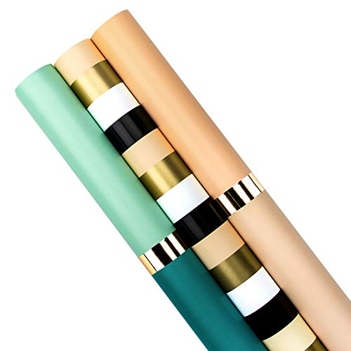 WRAPAHOLIC Wrapping Paper Roll - Gold Foil Stripes Set for Birthday, Holiday, Wedding, Baby Shower - 3 Rolls - 30 inch X 120 inch Per Roll